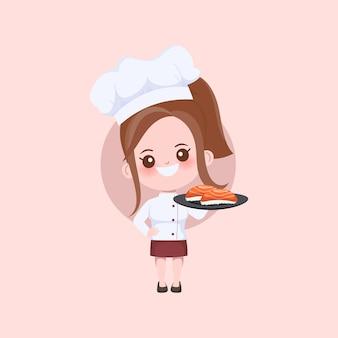 Kobieta ładny szef kuchni gotuje postać