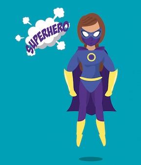 Kobieta latająca ikona superbohatera