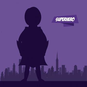 Kobieta latający bohater na mieście