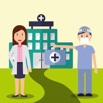 Kobieta lekarz i dentysta personel zespół medyczny szpital