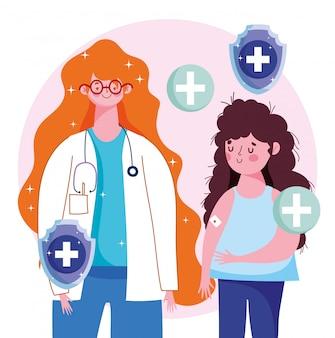 Kobieta lekarz i dziewczyna pacjenta z zespołem pomocy w ramieniu ilustracji medycznych szczepienia opieki zdrowotnej