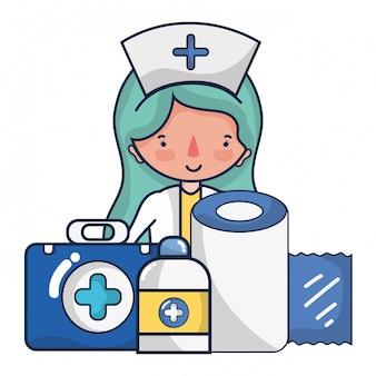 Kobieta lekarz i medyczne kreskówki