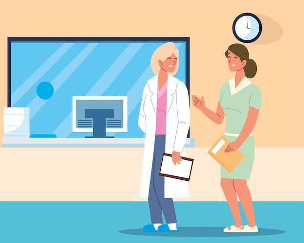 Kobieta lekarz i pacjent
