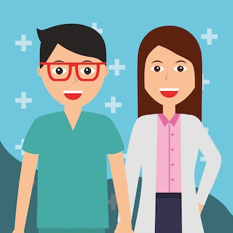 Kobieta lekarz i pielęgniarka opieki zdrowotnej i medycznej