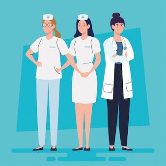 Kobieta lekarz i pielęgniarki opieki zdrowotnej, ilustracji wektorowych personel szpitala opieki zdrowotnej