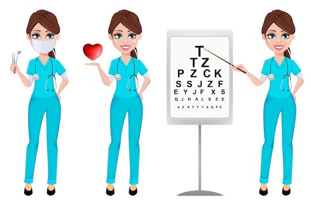 Kobieta lekarz medycyny, zestaw trzech pozach