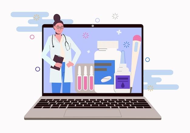 Kobieta lekarz na ekranie laptopa. porady online dotyczące leczenia kwarantanny i leków.