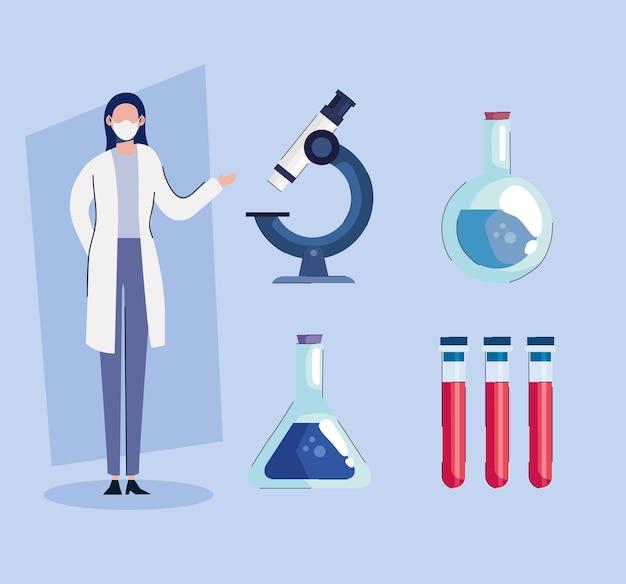 Kobieta lekarz noszenie maski medycznej z ilustracja zestaw ikon