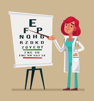 Kobieta lekarz okulista dokonywanie testu charakteru