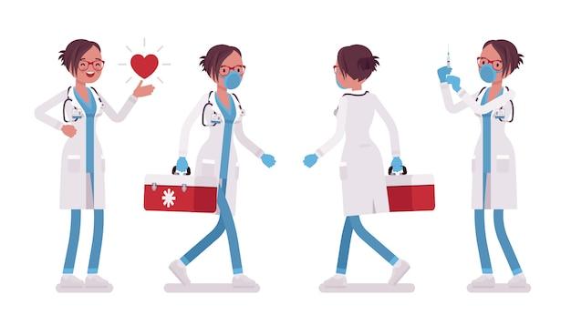 Kobieta lekarz pracuje. kobieta w szpitalnym mundurze witn czerwonym polu w praktyce, robi zastrzyk. medycyna, koncepcja opieki zdrowotnej. ilustracja kreskówka styl, białe tło, przód, tył