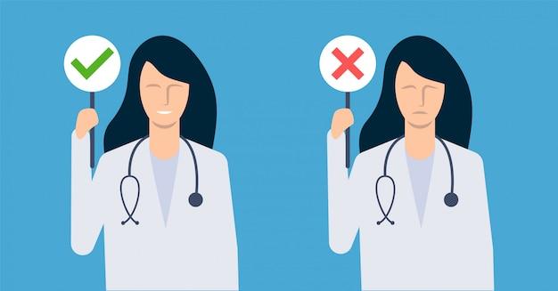 Kobieta lekarz przedstawia, co jest szkodliwe, a co dobre dla zdrowia. ilustracja