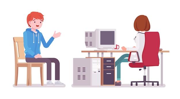 Kobieta lekarz terapeuta i transparent pacjenta