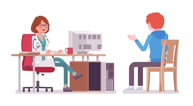 Kobieta lekarz terapeuta konsultacji pacjenta