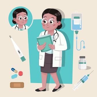 Kobieta lekarz urocza postać 2d gotowa do animacji wraz z narzędziami do pracy