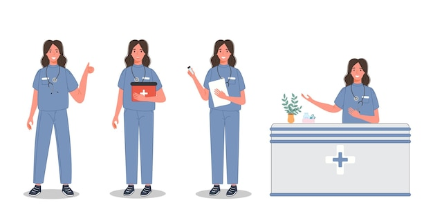Kobieta lekarz w innej pozie grupa medycznego profesjonalnego uniformu sanitarnego