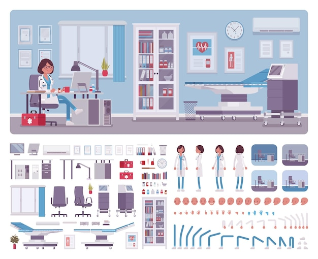 Kobieta lekarz w zestawie do tworzenia wnętrz gabinetu lekarza pierwszego kontaktu