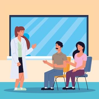 Kobieta lekarz z pacjentami