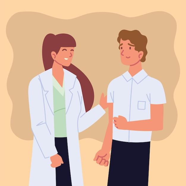 Kobieta lekarz z pacjentem