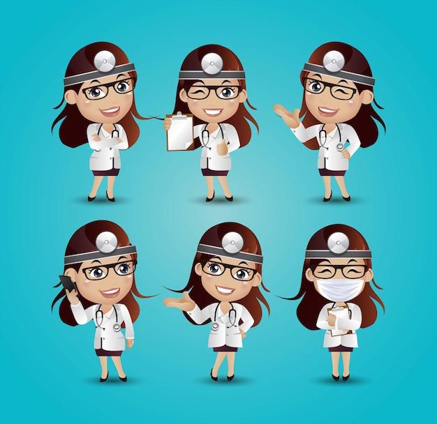 Kobieta lekarz z różnymi pozami
