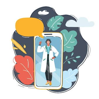 Kobieta lekarz za pomocą telefonu komórkowego.