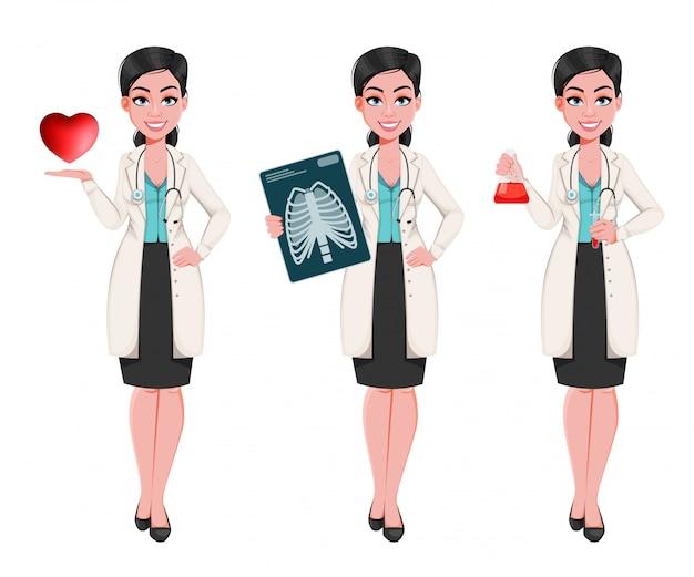 Kobieta lekarz, zestaw trzech pozach