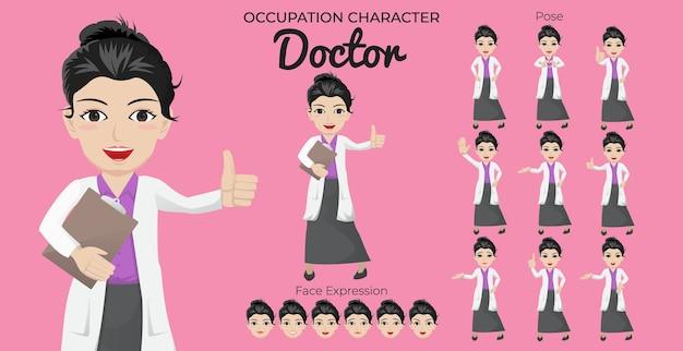 Kobieta lekarz zestaw znaków z różnymi pozami i wyrazem twarzy