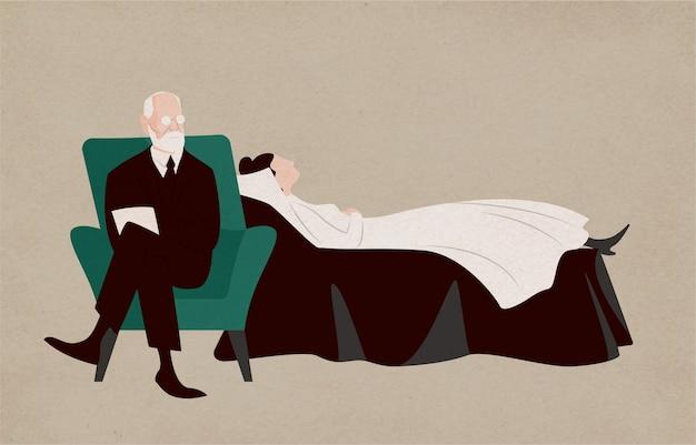 Kobieta leżąca na kanapie i psychiatra siedząca w fotelu obok niej i zadająca pytania. dialog między pacjentem a psychoanalitykiem. psychoanaliza i psychoterapia. ilustracja wektorowa płaski.