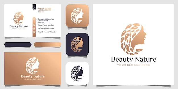 Kobieta logo salonu fryzjerskiego i koncepcja projektowania wizytówek do masażu i spa w salonie kosmetycznym
