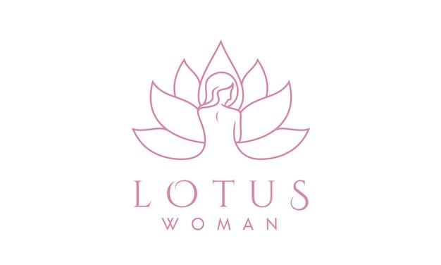 Kobieta lotus line art for spa projektowanie logo