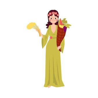 Kobieta lub grecka bogini demeter stoi trzymając róg obfitości i stylu cartoon pszenicy, na białym tle. ceres mitologiczna królowa zbiorów z rogiem obfitości
