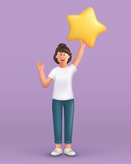 Kobieta macha ręką mówiąc cześć i trzyma dużą gwiazdę