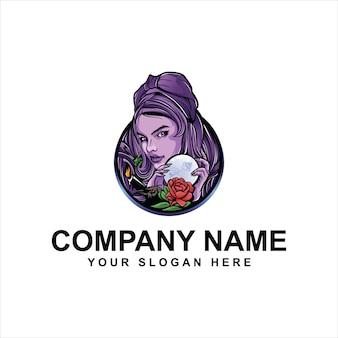 Kobieta magiczne logo szablon