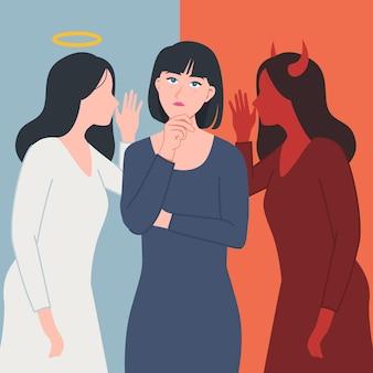 Kobieta mająca obok siebie demona i anioła