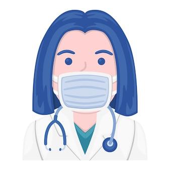 Kobieta maska medyczny emoji lekarz twarzy. design art. medyczna ochrona przed wirusami.