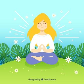 Kobieta medytacji uważności tle