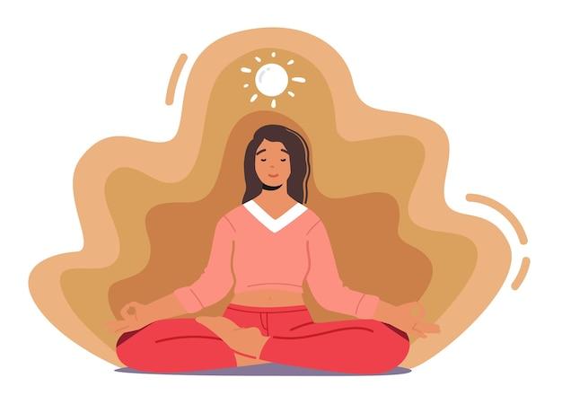 Kobieta medytująca siedząca w pozycji lotosu