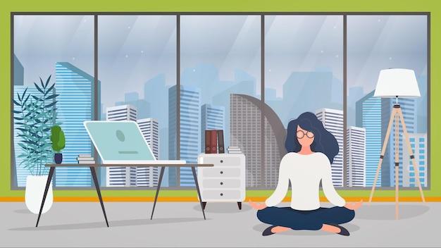 Kobieta medytuje na ilustracji pakietu office