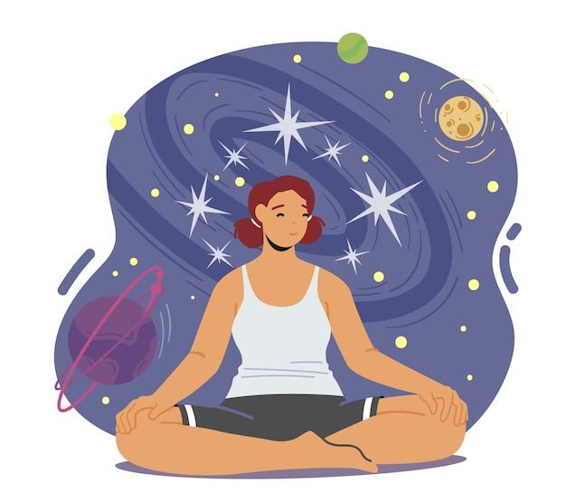 Kobieta medytuje, spokojna postać kobieca robi asana jogi w pozie lotosu. zen, łączenie się z naturą, zdrowy styl życia, relaks, równowaga emocjonalna i koncepcja harmonii. ilustracja wektorowa kreskówka ludzie