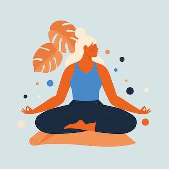Kobieta medytuje w naturze i liściach. ilustracja koncepcja jogi, medytacji, relaksu, rekreacji, zdrowego stylu życia. ilustracja w stylu cartoon płaski