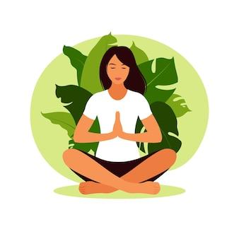 Kobieta medytuje w przyrodzie. koncepcja medytacji, relaks, joga. kobieta w pozycji lotosu. ilustracja.