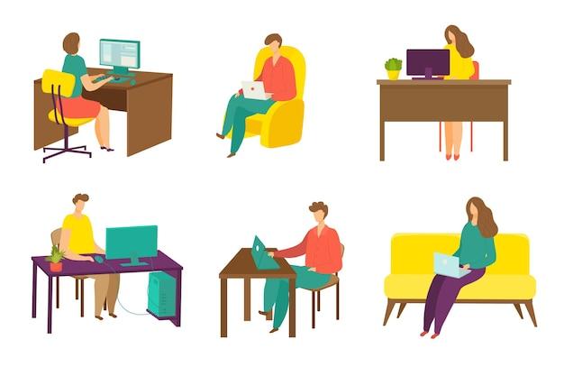 Kobieta, mężczyzna, praca w internecie, zestaw ilustracji wektorowych płaskie, ludzie, postać, używaj laptopa do kom...