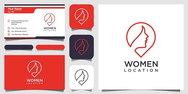 Kobieta miejsce projekt logo inspiracja kobieca szpilka szablon projektu logo