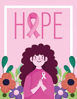 Kobieta miesiąc świadomości raka piersi, nadzieja, napis kwiaty i wstążka wektor wzór i ilustracja