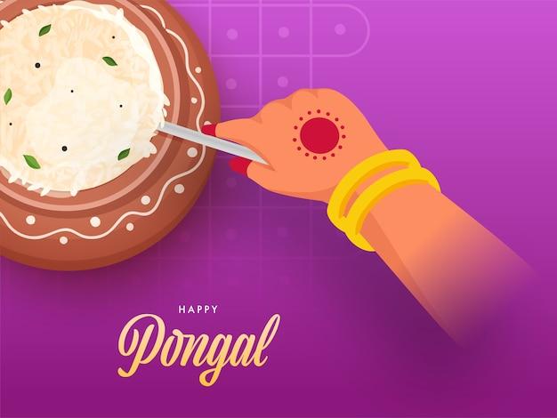 Kobieta mieszając gotowany ryż w glinianym garnku na tle magenta dla szczęśliwego świętowania pongalskiego