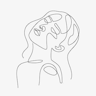 Kobieta minimalne ręcznie rysowane ilustracji. rysunek w stylu jednowierszowym.