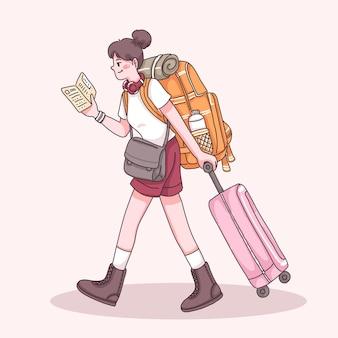 Kobieta młody podróżnik z plecakiem i przeciągając walizkę podczas czytania przewodnika mapy w postaci z kreskówki, płaska ilustracja