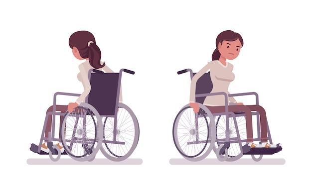 Kobieta młody użytkownik wózka inwalidzkiego przesuwa ręczne krzesło. niezdolność do chodzenia z powodu choroby, urazu lub niepełnosprawności. pojęcie medyczne. ilustracja kreskówka styl, białe tło