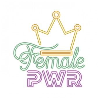 Kobieta moc etykiety z ikony korony