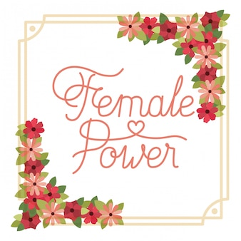 Kobieta moc etykiety z kwiat rama ikona na białym tle