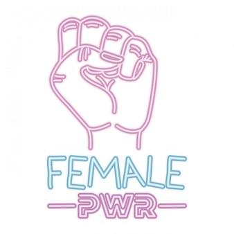 Kobieta moc etykiety z ręki w ikonach sygnału walki